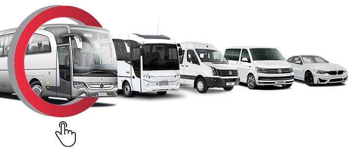 kiralık araç seçin otobüs otomoabil minibüs